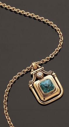 Custom pendant featuring zircon & diamond by Marc Williams Goldsmith Mom Jewelry, Jewelry Art, Antique Jewelry, Fine Jewelry, Jewelry Design, Jewellery, Gold Pendants For Men, Fashion Necklace, Fashion Jewelry