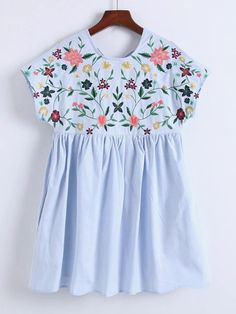 Season: Spring, Summer Pattern Type: Embroidery Sleeve Length: Cap Sleeve Color: Blue Dresses Length: Short Style: Casual, Cute Material: Cotton Blends Neckline: Round Neck Silhouette: A Line Shoulder(Cm): S:62cm, M:63cm, L:64cm Bust(Cm): S:82cm, M:86cm, L:90cm Length(Cm): S:80cm, M:81cm, L:82cm Size Available: S,M,L
