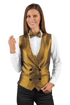Acheter ce gilet de service unisexe doré de ISACCO, vendu sur la boutique mylookpro.com dans la catégorie Gilets de service pour la réception ou la restauration. Il peut également être très bien en gilet de barman. On adore sa couleur doré chic.