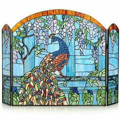 Stained Glass Peacock Fireplace Cover.