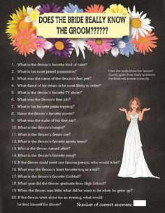 Bridal Shower Game: