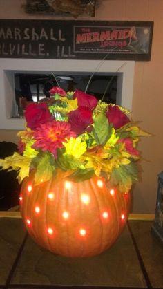 Leftover pumpkin centerpiece