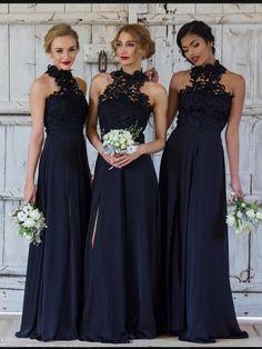 Elegant A-line Halter Dark Navy Chiffon Long Bridesmaid Dress with Slit