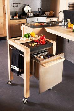 atelier culinaire cuisine ch ne massif clair desserte plan de travail mobile structure acier. Black Bedroom Furniture Sets. Home Design Ideas