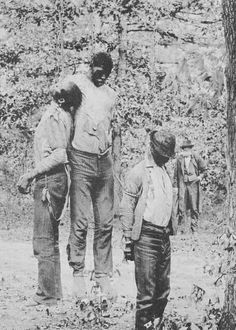 Lynchings of African Americans in America. Billy Holiday's   STRANGE FRUIT alluded to these murders.