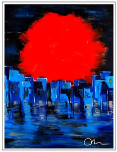 """""""Sunset in South LA""""..acrylic on stretched canvas..40"""" x 30"""" x 3"""". """"Sunset in South LA"""" ©Mac Worthington, artist, 2014"""
