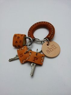 $13.00 Leather key chain with master key by ShuLeatherWorks on Etsy
