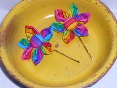 Stripe Rainbow Fabric Button Flower by TrueColorsBoutique on Etsy, $4.00