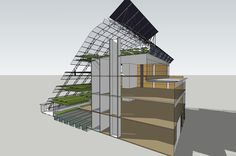 The Vertical Farm Imagine a 5-story farm in the middle of a city! This innovative conceptual design developed by Growing Power and The Kubala Washatko Architects, Inc. will expand and improve Growing Power's greenhouse and aquaponics operations currently spread over a two-acre site located in the City of Milwaukee. Five stories of south-facing greenhouse areas will allow production of plants, vegetables, and herbs year-round. Expanded educational classrooms, conference spaces, demonstration