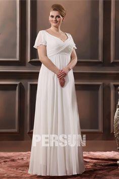 Robe de mariée grande taille simple vintage empire encolure en v drapé en mousseline de soie