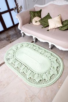 "Big crochet rug, oval area rug (47х72 in), doily rug, yarn lace mat, cottage nursery carpet, rustic floor decor by LaceMats ""LaceHope"" This crocheted giant did not remain without attention of your visitors and households. It complements any interior, from the loft to the cottage. What gift will appreciate all Price 249$"