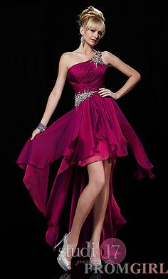 High Low One Shoulder Gown at PromGirl.com