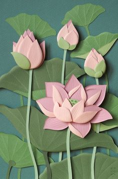 Top 22 of The Most Incredible Paper Wall Art Creations Top 25 der unglaublichsten Papier-Wandkunstkreationen Kirigami, Flower Crafts, Diy Flowers, Lotus Flowers, Handmade Flowers, Diy Paper, Paper Crafts, Origami Paper Art, Diy And Crafts