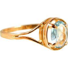 Elegant aquamarine ring, 18K solid gold ring, Stamped vintage gold ring