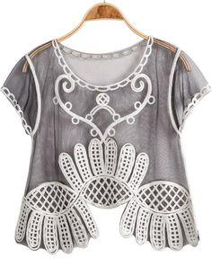 Black Short Sleeve Floral Crochet Sheer Mesh Yoke Blouse - Sheinside.com