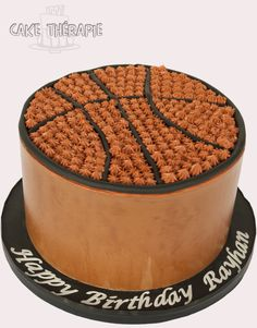 Basketball cake. Chocolate cake filled and frosted in chocolate buttercream.
