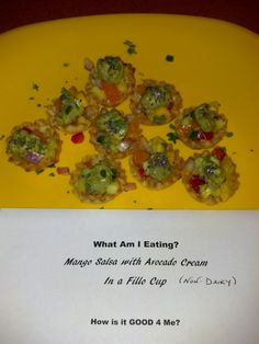 Way better than an *apple* for the teacher... a *filo dough cup filled with mango salsa, topped with avocado cream*. Absolutely delicious in-class trial for Honest Chow's real-good food & descriptors! Thanks, Lis!!