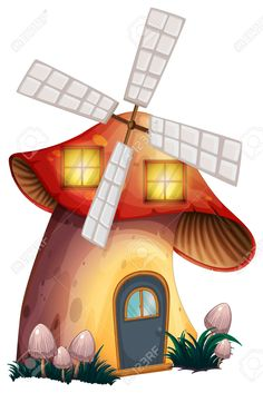 Illustration Of A Mushroom House With A Windmill On A White Background Royalty Free Cliparts, Vectors, And Stock Illustration. Pic 29111597.
