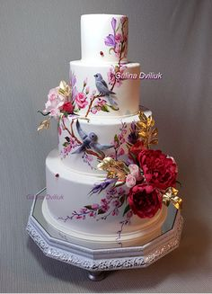 Gorgeous Wedding Cake Fresh Flowers Combo You Will Love – Bridezilla Flowers Amazing Wedding Cakes, Elegant Wedding Cakes, Wedding Cakes With Flowers, Elegant Cakes, Wedding Cake Designs, Amazing Cakes, Gorgeous Cakes, Pretty Cakes, Painted Wedding Cake