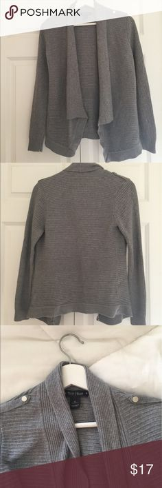 White House Black Market Gray Sweater Lovey White House Black Market Sweater. Lovely for layering over a Tee or Blouse. It has silver epaulette detail on the shoulders. This sweater does not fasten closed but lays open for an effortless chic vibe. White House Black Market Sweaters Cardigans