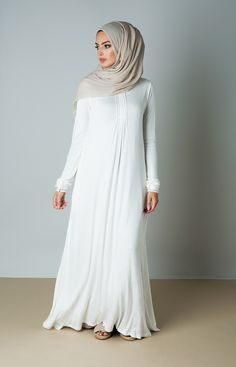 Aab UK White Sea Abaya : Standard view