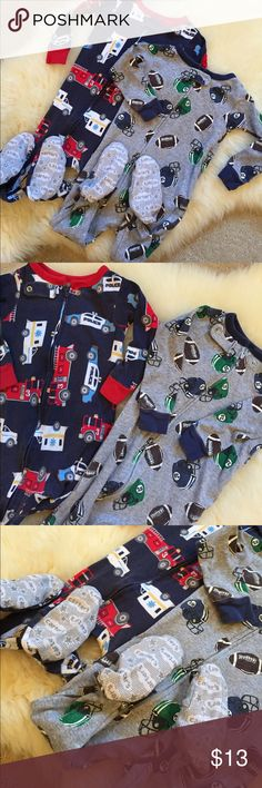 2 Carter's Snug Fit Footed Cotton PJs 2 footed PJs with zip up design, safety tab, built in gripper footies, ribbed cuffs and neckline and allover fun print. Gray one with footballs and helmets. Navy blue one with police cars and fire trucks. *** One With wear/tear on one cuff- see last picture. Carter's Pajamas