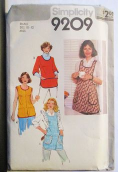 1970s Vintage Sewing Pattern Simplicity 9209 Misses Set of Aprons Pattern Size Small 10-12 by SewYesterdayPatterns on Etsy