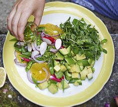 A crisp, fresh rainbow salad with mint and coriander dressing. Versatile enough to be served on the side of various main course meals