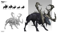 Concept done for an undead moose for my final project at Odd School. Monster Design, Monster Art, Creature Feature, Creature Design, Fantasy Beasts, Fantasy Art, Fantasy Creatures, Mythical Creatures, Pen & Paper