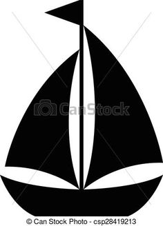 Vector - Simple cartoon sailboat icon - stock illustration, royalty free illustrations, stock clip art icon, stock clipart icons, logo, line art, EPS picture, pictures, graphic, graphics, drawing, drawings, vector image, artwork, EPS vector art