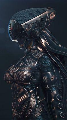 Science fiction cyberpunk sci fi 19 Ideas for 2019 Mode Cyberpunk, Cyberpunk Girl, Cyberpunk Aesthetic, High Fantasy, Dark Fantasy Art, Fantasy Girl, Futuristic Armour, Futuristic Art, Arte Sci Fi