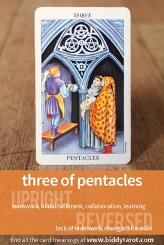 Three of Pentacles #tarotcardmeaning learn more athttps://www.biddytarot.com/tarot-card-meanings/minor-arcana/suit-of-pentacles/three-of-pentacles/