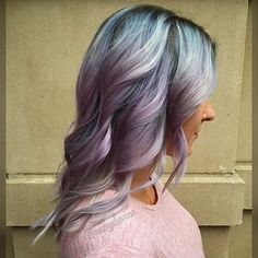 SMOKED LAVENDER This was the latest color scheme for the awesome @brandiholtby . Still using her preexisting newgrowth and blonde, I color melted from #pravana and #joico Black/black pearl/titanium, into silver, into lavender/soft pink/light purple& #olaplex . It came out so pretty. #frizzlesoldtown #703