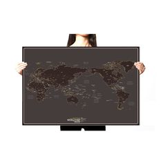 Paper hunting trophy diy assembly kit 3d paper art home deco black world map paper draw travel routes decor wall poster around the world knock gumiabroncs Gallery