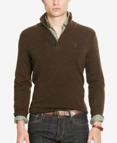 Men's Dark Brown Merino-Wool Half-Zip Sweater | Mens Half Zip ...