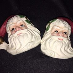 VINTAGE Santa Claus FACE Salt & Pepper OMNIBUS Ceramic FITZ AND FLOYD Set