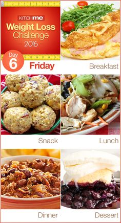 Day 6 Meal Plan Recipes – Weight Loss Challenge for Weight Watchers - Ham Omelet, Peanut Butter Balls, Southwestern Chicken-Bean Salad, Slow Cooker Chili, and Blueberry Cobbler