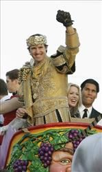 Drew Brees reigns as Bacchus, Mardi Gras 2010.  Only in New Orleans!