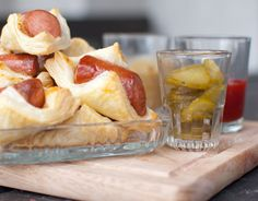 Grown-Up Pigs N A Blanket!  Puff Pastry, Mustard and Hog Dogs -- it's that easy.