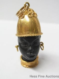1950s African Royalty Blackamoor 18K Yellow Gold Carved Ebony Wood Pendant Charm | eBay..