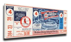 1967 World Series Game 4 Canvas Mega Ticket - St Louis Cardinals