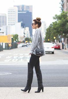 Phillip Lim boots, ballerina chignon, Chanel bag and light grey oversized sweater