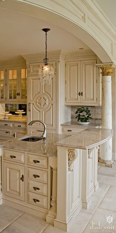 Unique Ivory Kitchen with Beautiful Details Panel Front Refrigerator