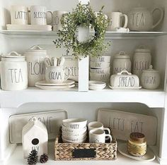 15 Best Inspiration: Rae Dunn Display Ideas To Make Beautiful Decor In Your Home Farmhouse Style Decorating, Decorating Your Home, Farmhouse Decor, Decorating Ideas, Decor Ideas, Farmhouse Kitchens, Coastal Farmhouse, Room Ideas, Design Your Own Home