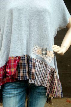 REVIVAL Upcycled Boho Shirt Shabby Chic Junk Gypsy by REVIVAL