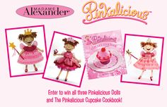 Pink pink HOORAY It's time for a giveaway! Our friends at Madame Alexander are giving away a pinkatastic prize! Enter to win a set of three Pinkalicious dolls and a copy of The Pinkalicious Cupcake now through August 11, here:  http://woobox.com/pvzss2