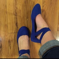 Royal Blue Ankle Strap Ballet Flat Brand new never worn blue ballet flats with stretchy ankle strap! Shoes Flats & Loafers