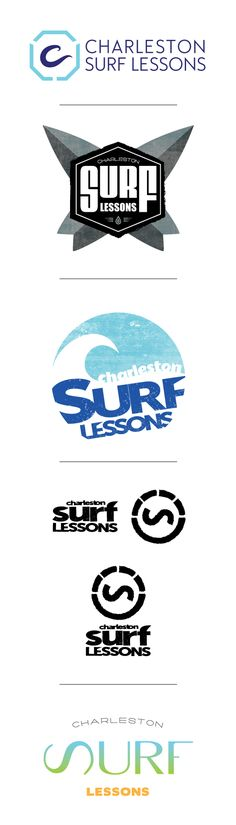logo mock ups created for a surf school located in Folly Beach, SC.