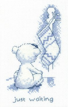 Just Waiting 'Justin' Teddy Bear Card Heritage Crafts cross stitch
