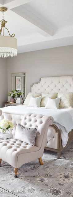 This beautiful small bedroom is elegant and refined using soft shades of yellow, creme & white | Bedroom Design Ideas